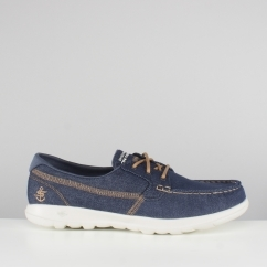 Skechers GO WALK LITE Ladies Denim Boat Shoes Blue