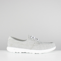 Skechers GO WALK LITE Ladies Linen Boat Shoes Grey