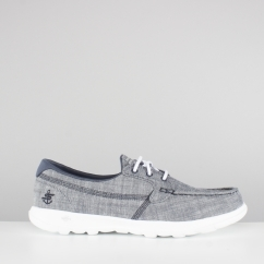 Skechers GO WALK LITE Ladies Linen Boat Shoes Navy