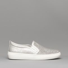 c07270466747d2 Skechers GOLDIE DIAMOND DARLING Ladies Slip On Trainers Silver - 73800