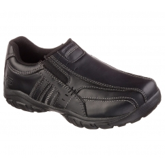 GRAMBLER WALLACE Boys Leather Slip On Shoes Black