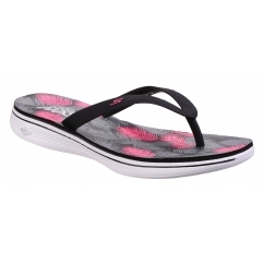 Skechers H2 GOGA-LAGOON Ladies Toe Post Flip Flops Black/Pink