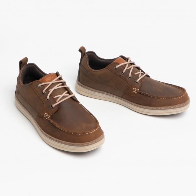 metodología Sin sentido para ver  Skechers HESTON SENDO Mens Leather Lace-Up Deck Shoes Brown | Shuperb