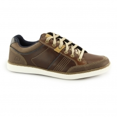 Skechers LANSON-ROMETO Mens Leather Trainers Shoes Brown