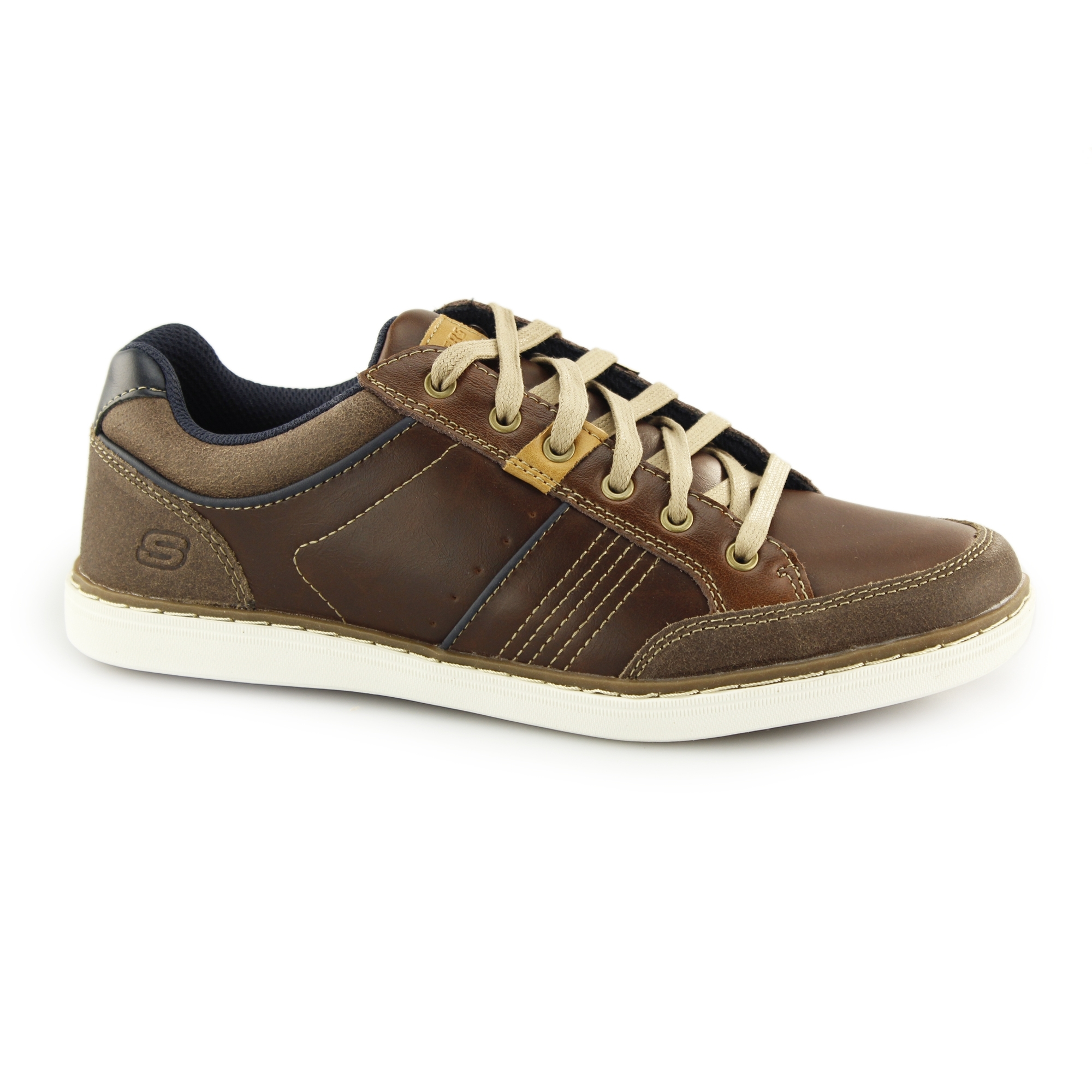 b23a940091fd Skechers LANSON-ROMETO Mens Leather Trainers Shoes Red Brown