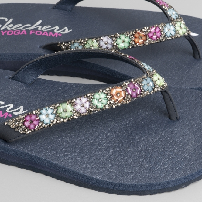 8e496c19abe4 Skechers MEDITATION DAISY DELIGHT Ladies Flip Flops Navy