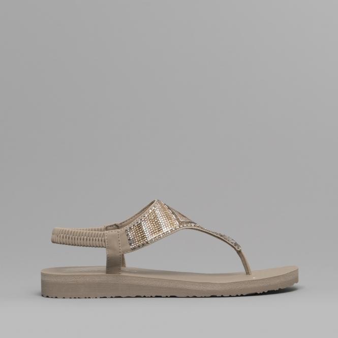 c55e2251f620 Skechers MEDITATION GYPSY GLAM Ladies Toe Post Sandals Taupe Multi ...