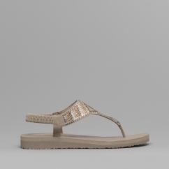 9b528ce1188258 Skechers MEDITATION GYPSY GLAM Ladies Toe Post Sandals Taupe Multi