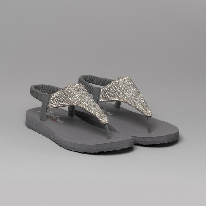 6f31d062 Skechers MEDITATION ROCK CROWN Ladies Toe Post Sandals Charcoal ...