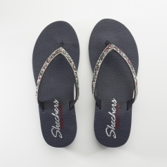 Skechers MEDITATION-TAHITI SOLE Ladies Embellished Flip Flops Navy