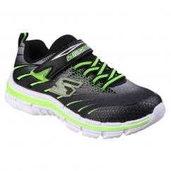 Skechers NITRATE PULSAR Boys Junior Trainers Black/Lime