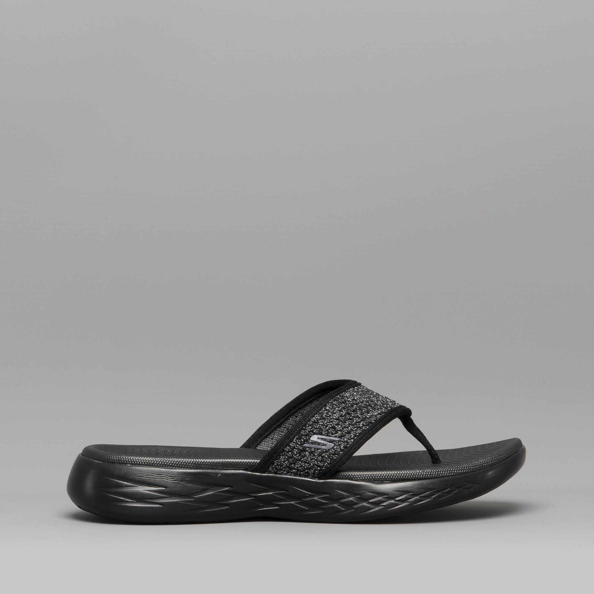 3cf8c5008bae Skechers ON-THE-GO 600 GLOSSY Ladies Flip Flops Black Grey