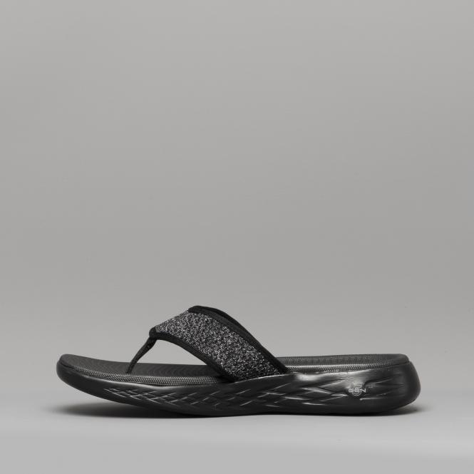 2081b8c2bd82 Skechers ON-THE-GO 600 GLOSSY Ladies Flip Flops Black Grey - 16150