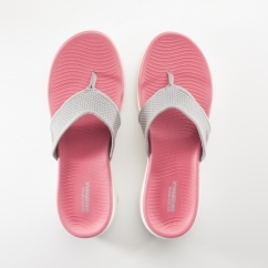 Skechers ON-THE-GO 600 Ladies Flip Flops Grey/Pink