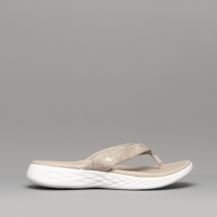 5127e426962d0a Skechers ON-THE-GO 600 PREFFERED Ladies Flip Flops Taupe 15304