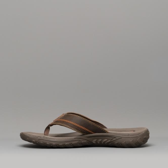 127f362ad Skechers REGGAE COBANO Mens Leather Flip Flop Sandlas Brown 65460