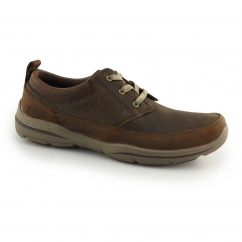 RELAXED FIT: HARPER OLNEY Mens Leather Casual Lace Up Shoes Brown