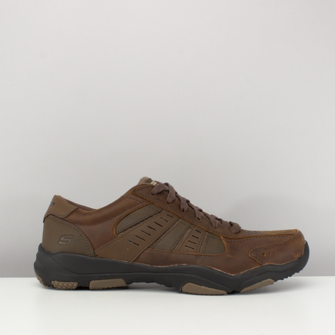 55c582187f78 Skechers RELAXED FIT  LARSON NERICK Mens Leather Lace Up Shoes Brown ...