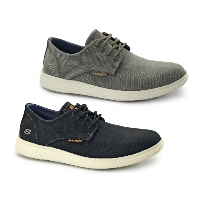 ab02b674ea90 Skechers RELAXED FIT  STATUS-BORGES Mens Canvas Trainers Black