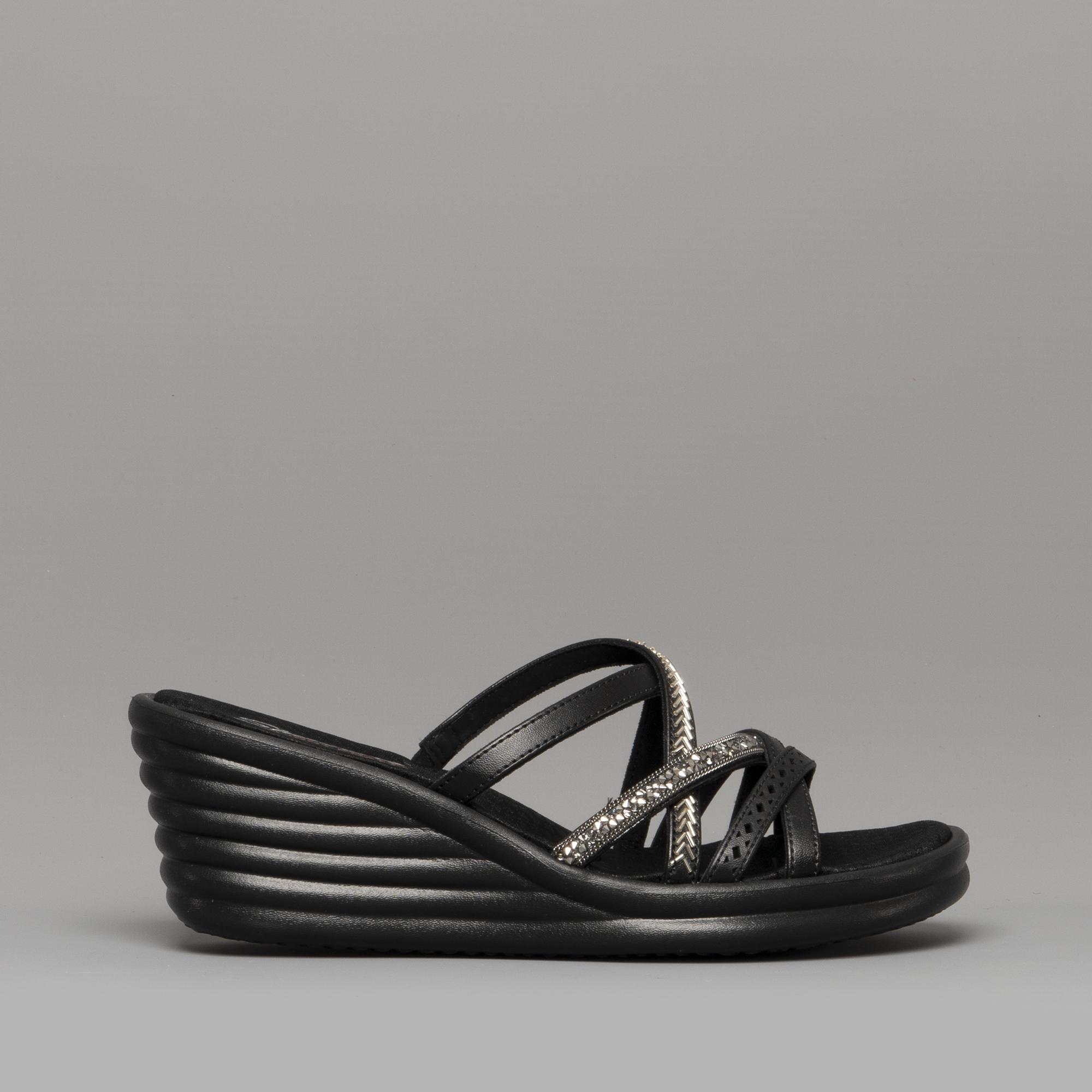 a43b23c01f4b1 Skechers RUMBLER WAVE NEW LASSIE Ladies Wedge Heel Sandals Black