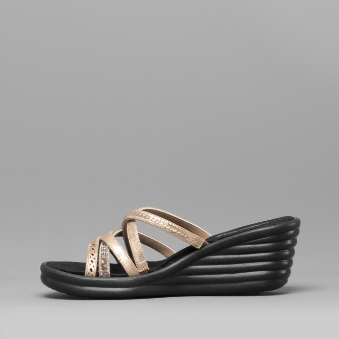 d8df9e77333d Skechers RUMBLER WAVE NEW LASSIE Ladies Wedge Heel Sandals Rose Gold ...