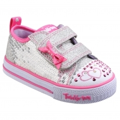 Skechers Shuffles Childrens Trainers Silver/Hot pink