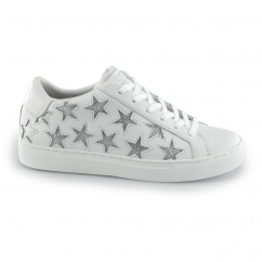SIDE STREET - STAR SIDE Ladies Leather Casual Trainers White/Silver