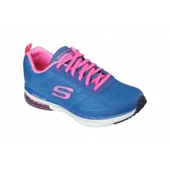 SKECH AIR INFINITY Ladies Lace Up Trainers Blue/Hot Pink