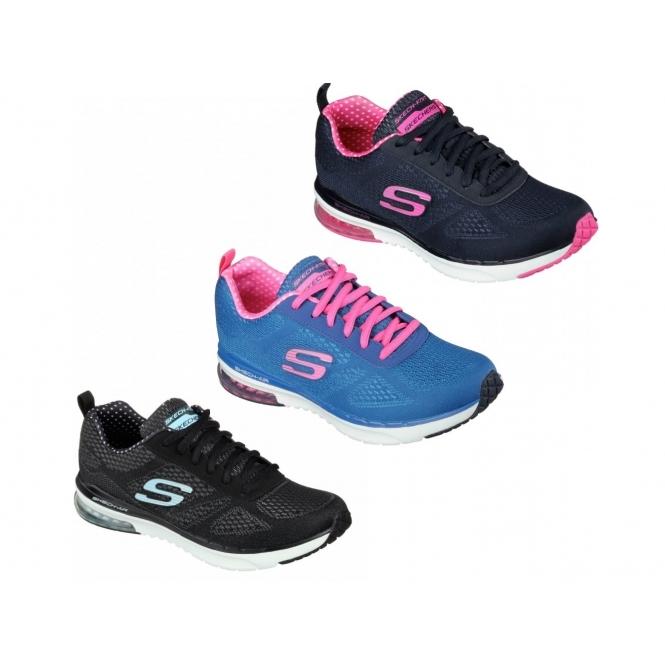 b4ad6ca9bd8 Skechers SKECH AIR INFINITY Ladies Trainers Blue/Hot Pink | Shuperb