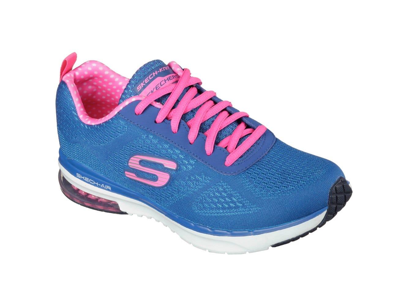 aefd628929d7 Skechers SKECH AIR INFINITY Ladies Trainers Blue Hot Pink
