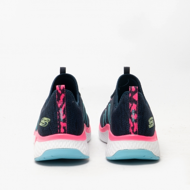 Skechers SOLAR FUSE-ELECTRIC PULSE Ladies Womens Mesh Trainers Black//Blue//Pink