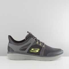 Skechers SYNERGY 2.0 CHEKWA Mens Mesh Trainers Charcoal