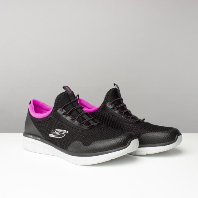 c98647bf8038 Skechers SYNERGY 2.0 - MIRROR IMAGE Ladies Slip On Trainers Black Pink