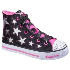 Skechers Twinkle Toes: Shuffles Childrens Trainers Black/Neon Pink