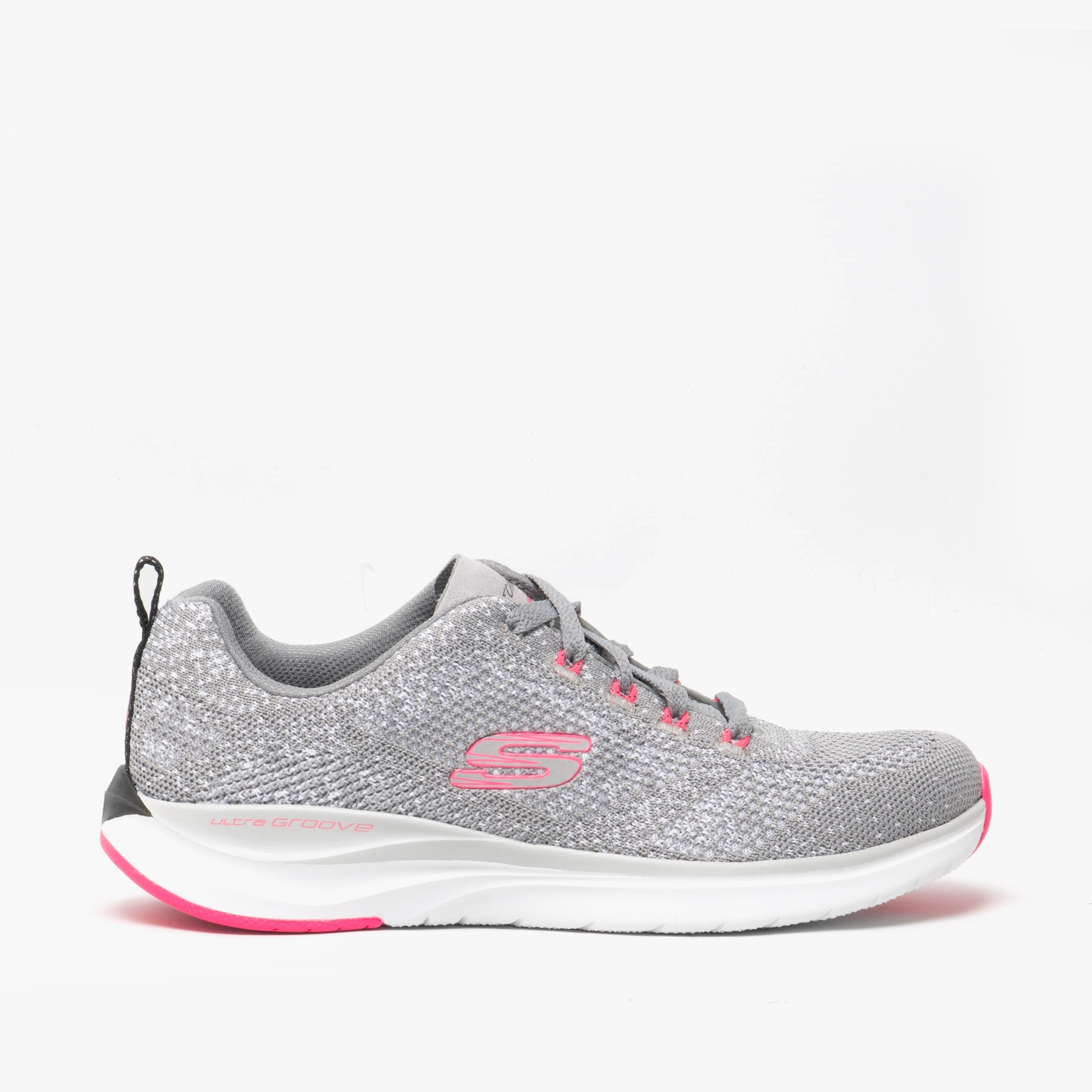 skechers grey and pink trainers