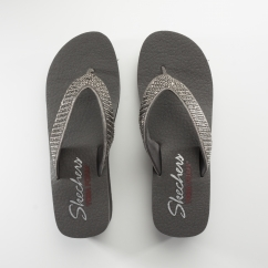 Skechers VINYASA Ladies Embellished Wedge Flip Flops Pewter