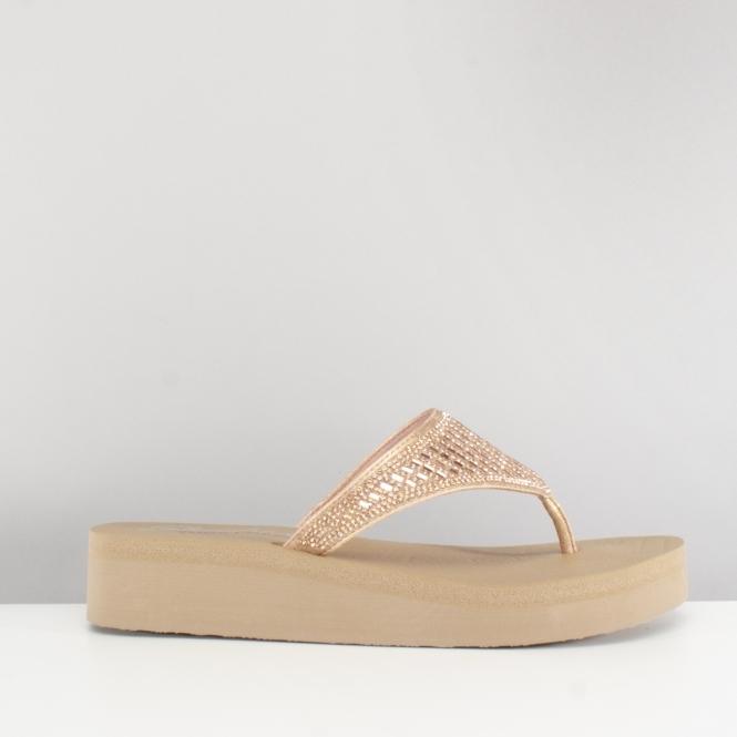 f119aa17d7ba Skechers VINYASA Ladies Embellished Wedge Flip Flops Rose Gold