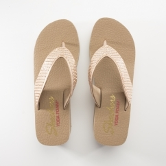 Skechers VINYASA Ladies Embellished Wedge Flip Flops Rose Gold