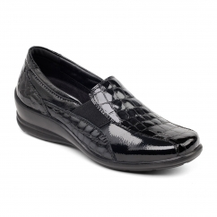 SKYE Ladies Leather Wide/Extra Wide Loafer Shoes Black Croc