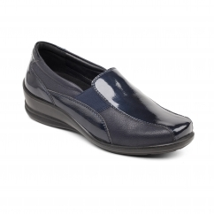 SKYE Ladies Leather Wide/Extra Wide Loafer Shoes Navy