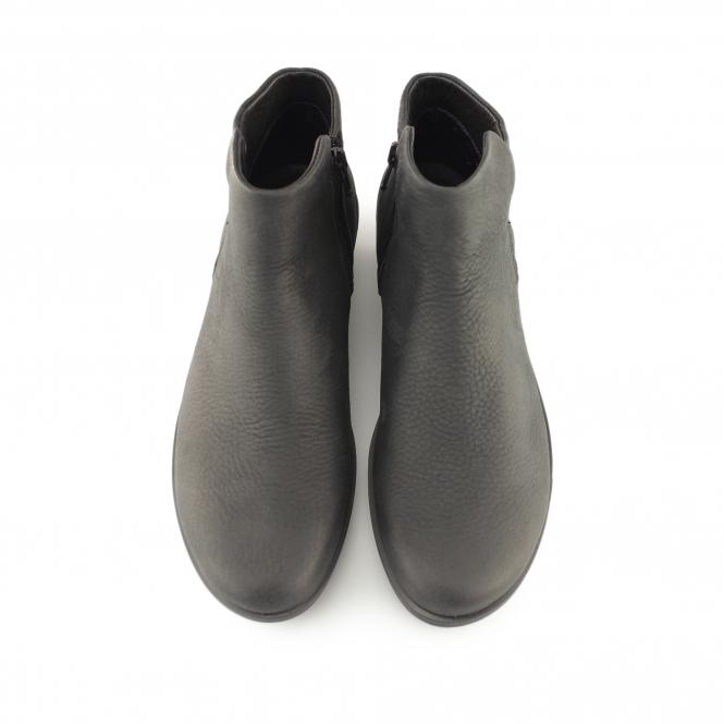aa5386d6dd6 SKYLER Ladies Leather Nubuck Zip Up Boots Black