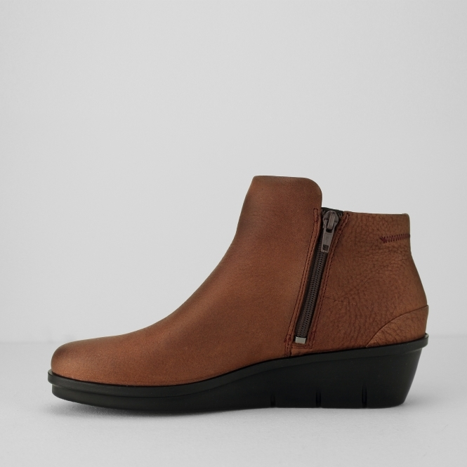 d1a7e0ee65f SKYLER Ladies Leather Zip Up Boots Brandy