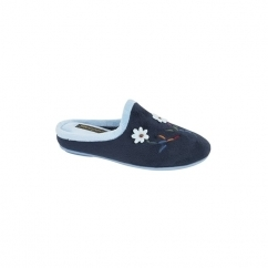ALEX Ladies Mule Slippers Navy/Blue