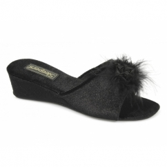 ANNE Ladies Jewelled Rosette Boa Mule Slippers Black