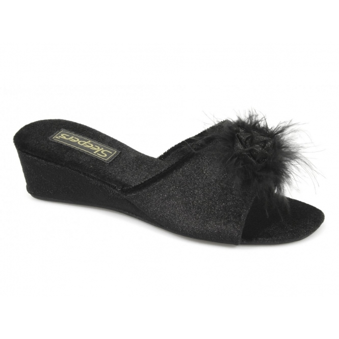 Sleepers Anne Womens Ladies Boa Mule Slippers Black Buy At Shuperb