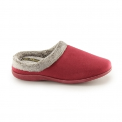 GLENYS Ladies Mule Slippers Burgundy