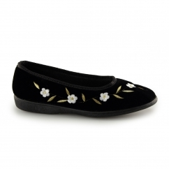 MONICA Ladies Full Slippers Black