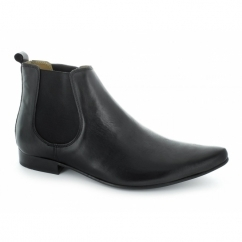 SLY Mens Leather Pointed Chelsea Boots Black