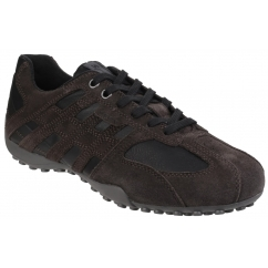 GEOX SNAKE H Mens Suede Leather Comfort Trainers Mud