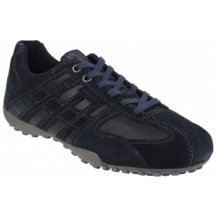 GEOX SNAKE H Mens Suede Leather Comfort Trainers Navy